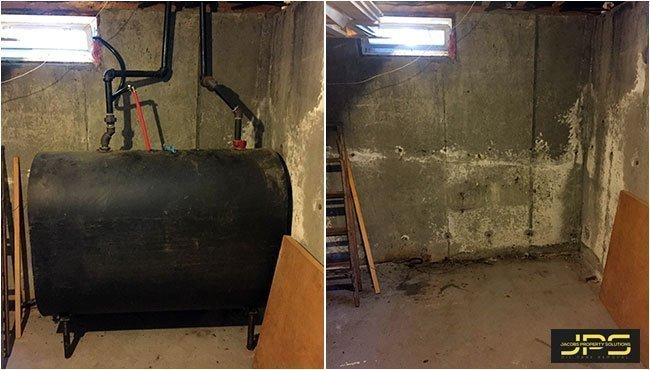 before and after oil tank removal in the basement jacobs property solutions